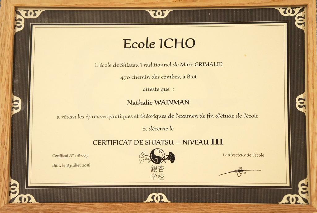 Diplome de shatsu Ecole Icho